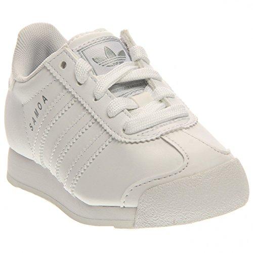 adidas Originals Samoa Sneaker (Little Kid/Big Kid), White/White/Light Grey, 12 M US Little Kid