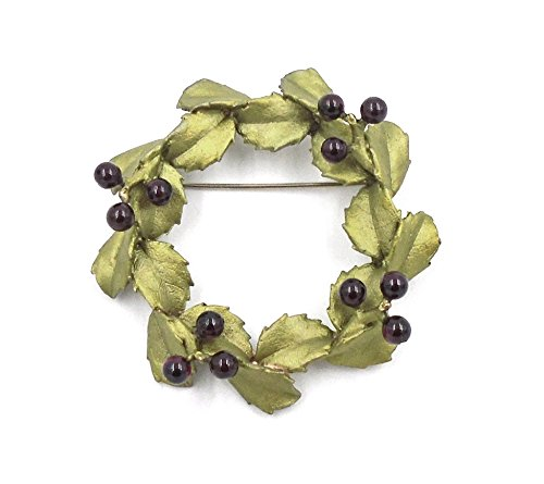 Holiday ''Holly Wreath'' Pin/brooch By Michael Michaud for Silver Seasons by Michael Michaud