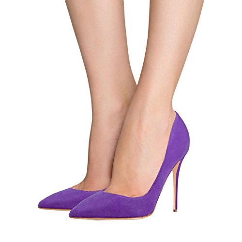 VOCOSI Women's High Heels,Pointed Toe Patent Pumps Shoes for Ladies Party Dress 4.7 inches Purple(suede)