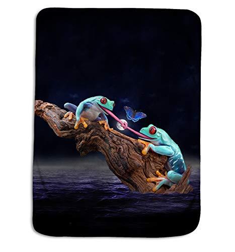 Royal Linen Source Blue Frog Tangle Fleece Throw for Baby Blanket and Adult Blanket (JF311B) ()