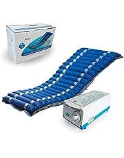 Anti-decubitus matras Deluxe, Wisselende cellen en compressor,met pomp, nylon en medisch vuurvast PVC, Blauw, Mobi 2, Mobiclinic