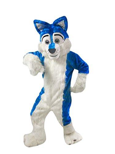 Langteng Blue Wolf Dog Husky Mascot Costume Real