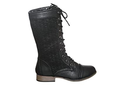 Lace Overlay mid-calf Combat Boots