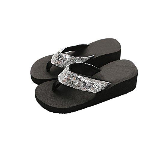 (Seaintheson Women's Slippers, Women Summer Sequins Flip Flops Anti-Slip Sandals Indoor Outdoor Flats Casual Wedge Shoes Sliver)