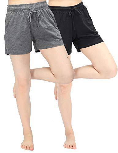 (WEWINK CUKOO Women Pajama Shorts Cotton Sleep Shorts Stretchy Lounge Shorts with Pockets (XL=US 14-16, Black+Granite Gray))