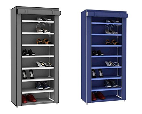 Sunbeam 7 Tier 24 Pair Shoe Closet Rack with Dustfree Cover