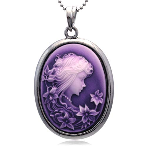 (Soulbreezecollection Purple Cameo Pendant Necklace Charm Fashion Jewelry for Women )