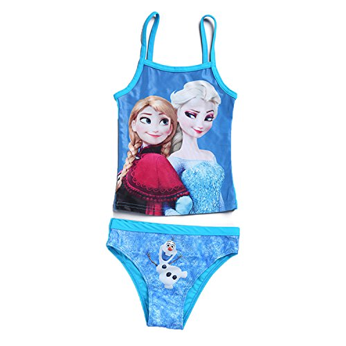 PCLOUD Girls' Frozen Two Piece Bikini Swimsuit Blue 3-10 Years Old