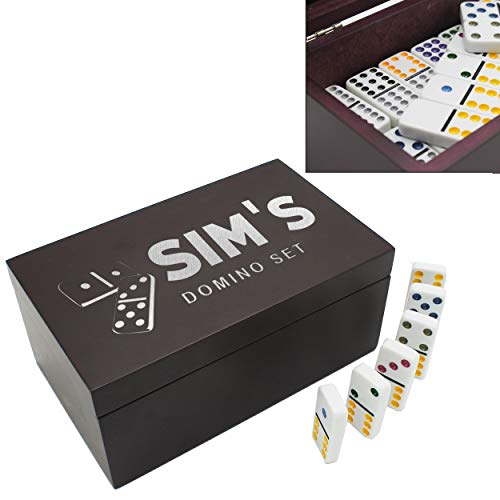 The Wedding Party Store Custom Engraved Domino Gift Set with Personalized Storage Box - Etched Double 12 Domino Set with 92 Pieces (Box Dominoes Gift)