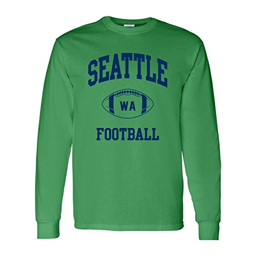 Seattle Classic Football Arch American Football Team Long Sleeve T Shirt - Small - Irish Green