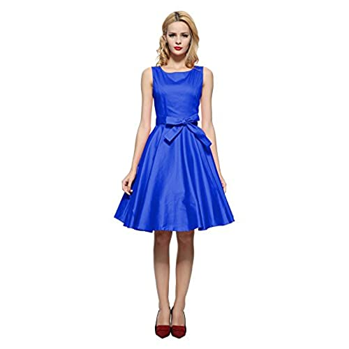 Maggie Tang 50s Vintage Cocktail Swing Rockabilly Party Dress Royal Blue Size M