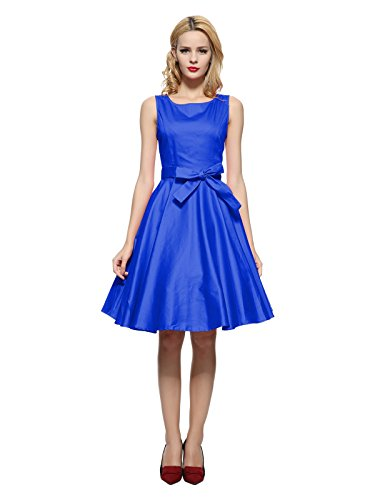 Maggie Tang 50s Vintage Cocktail Swing Rockabilly Party Dress Royal Blue 2XL ()
