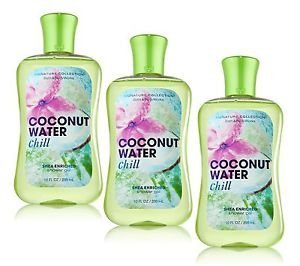 Lot of 3 Bath Body Works Signature Collection Coconut Water Chill Shea Enriched Shower Gel 10 Fl Oz Each Coconut Water Chill