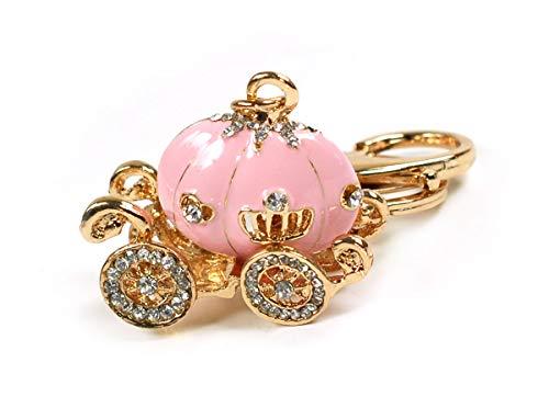 (Cinderella Princess Enamel Rhinestone Pumpkin Carriage Crystal Keychain Rhinestone Crystal Handbag Key Charm Ring (Pink))