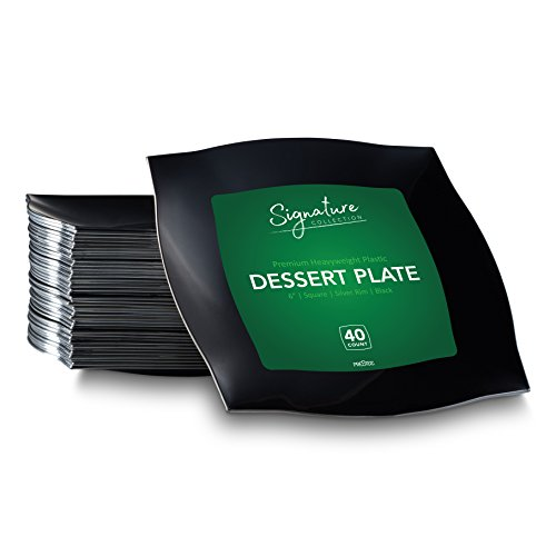 SIGNATURE PLASTIC PARTY DISPOSABLE PLATES | 6 Inch Square Wedding Dessert Plates | Black with Silver Rim, 40 Ct | Elegant & Fancy Heavy Duty Hard Party Supplies Plates for (Black Rimmed Dinner Plate)