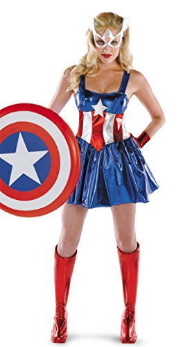 HPLY Costumes Women's Superman Costume Cosplay Captain America Dress (Ladies Captain America Costumes)