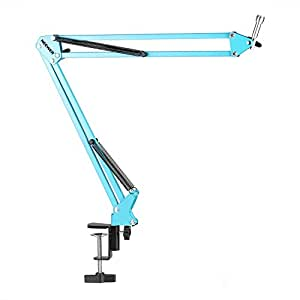 """Neewer NW-35 Adjustable 31.5""""/80cm Studio Recording Microphone Suspension Boom Scissor Arm Stand with Microphone Clip & Table Mounting Clamp (Blue)"""