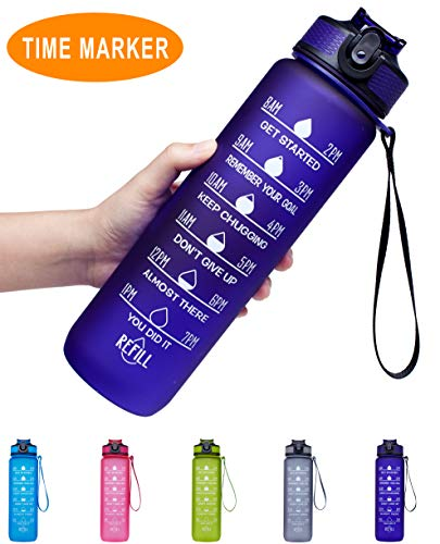 Venture Pal 32oz Leakproof Tritran BPA Free Water Bottle with Motivational Time Marker & Straw to Ensure You Drink Enough Water Throughout The Day for Fitness,Gym and Outdoor Sports-Purple