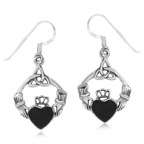 Created Black Onyx 925 Sterling Silver Triquetra Celtic - Claddagh Earrings Sterling Silver