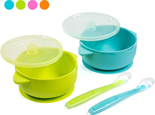 Best Baby Suction Silicone Bowl Set Includes Soft Silicone Spoon + Lid BPA Free (Green & Blue Bowl)