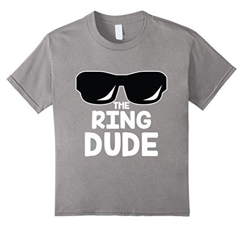 Kids The Ring Dude T-Shirt | Cute Boys Wedding Ring Bearer Tee 4 Slate -