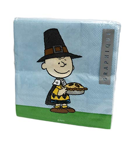 Pilgrim Charlie Brown with Pie 40 Pack 3 Ply Novelty Happy Thanksgiving Paper Cocktail Beverage Drink Party -