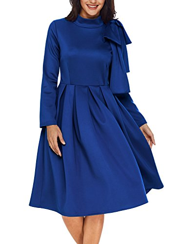 AlvaQ Fall Cheap Graduation Dresses For Women Party 2017 Night Elegant Cocktail Work Skater Midi Dress, Blue,XL