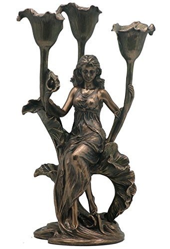 XoticBrands Decorative 11.81 Inch Sitting Maiden with Calla Lily 3 Candle Holder - Home Accent, (H) 11 3/4, - Calla Lilies Bronze