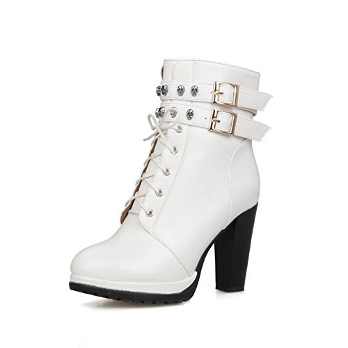 Allhqfashion Women's Round Closed Toe Solid Low Top High Heels Boots White 7WaGfy