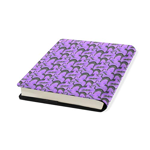 Watercolor Halloween Cat Bat Stretchable Leather Book Covers Standard Size for Student Hardcover Textbooks Fits Up to 9x11-Inch for School Girls Boys Gift