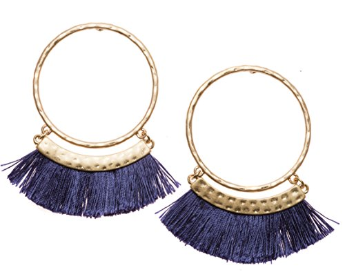 Tassel Hoop Earrings in Navy and Gold Color | Statement Earrings with Tassels in Deep Blue nickel free
