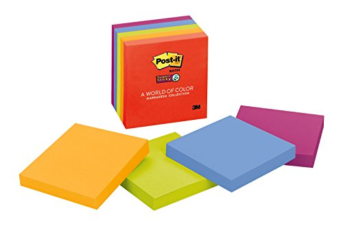 Post It Super Sticky Notes  3 In X 3 In  Marrakesh Collection  5 Pads Pack  654 5Ssan