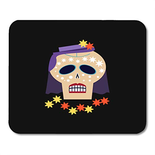 Semtomn Gaming Mouse Pad Purple Scary Skull Orange Flowers and Veil on Hat 9.5