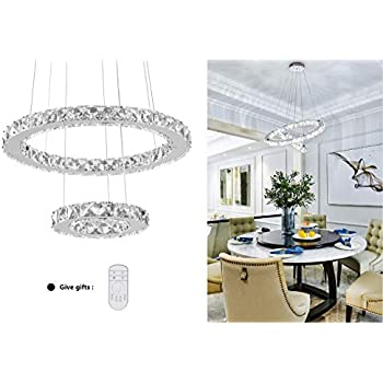 KAI Crystal Island Pendant Light Dimmable Temperature Adjustable Contemporary Chandelier Lamp with 4320LM Chrome Adjustable Height 2 Rings Modern Flush ...