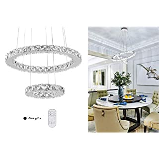 KAI Modern Crystal Chandelier Dimmable with Remote Control Temperature Adjustable Pendant Light with 4320LM Chrome Adjustable Height 2 Rings Flush Mount Ceiling Lighting for Dining Room