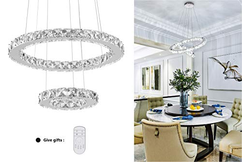 (KAI Modern Crystal Chandelier Dimmable with Remote Control Temperature Adjustable Pendant Light with 4320LM Chrome Adjustable Height 2 Rings Flush Mount Ceiling Lighting for Dining Room)
