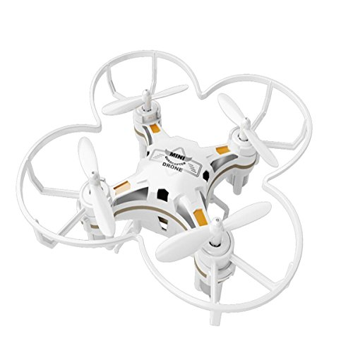FQ777-124 Micro Drone 4CH 6Axis Gyro Pocket Quadcopter Switchable Controller CF Mode One Key To Return 3D Roll MAV RTF With Free Makibes Cleaning Cloth (White)
