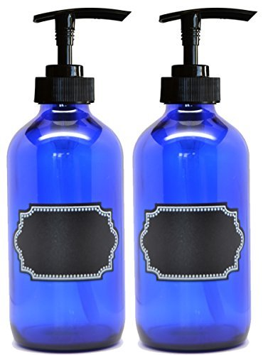 2 Pack Firefly Craft Cobalt Blue PLASTIC Pump Bottles with Chalkboard Labels, 16 ounces each