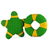 EETOYS Squeaky Toy Soft Latex Dog Toy Floating Ball for Interactive Fetch & Play Green Starship&Ring Large