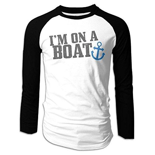 Puppylol Men's I'm On A Boat Long Sleeve Raglan Baseball Jersey M