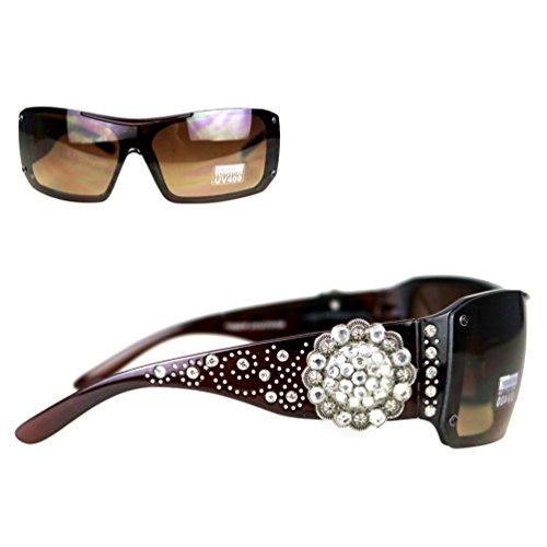Montana West Ladies Sunglasses Silver Dots Swirl Design Rhinestones Concho UV400, Coffee Frame Brown (Brown Concho)