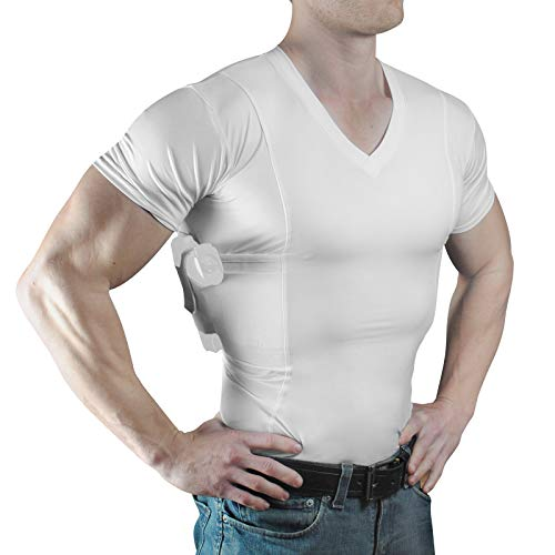 ConcealmentClothes Men's V-Neck Undercover- Concealed Carry Holster Shirt (Large, White)