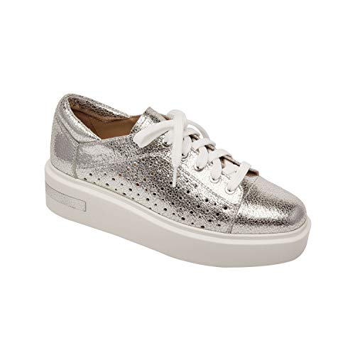 Linea Paolo Kendra | Perforated Leather Lace-Up Platform Sneakers Silver Crackle Leather 7M
