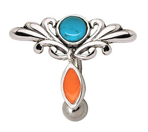 Tear Drop Gem with Gem Paved Oval Dangle 316L Surgical Steel WildKlass Navel Ring Sold by Piece