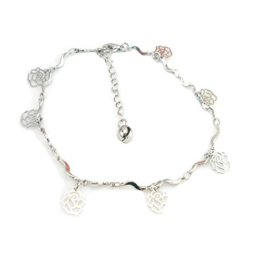 elets for Women,Curve Rose Pendant Anklet Bracelet Beach Foot O-type Chain (Silver) ()