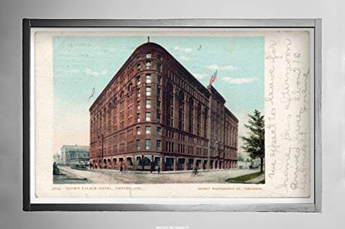 New York Map Company  Brown Palace Hotel, Denver, Colo, 1900 Postcard Vintage Antique Fine Art Reproduction Photo |Size: 7x12|Ready to Frame ()