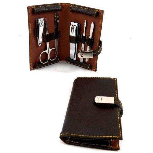 Brown Leather 6 Piece Manicure Set