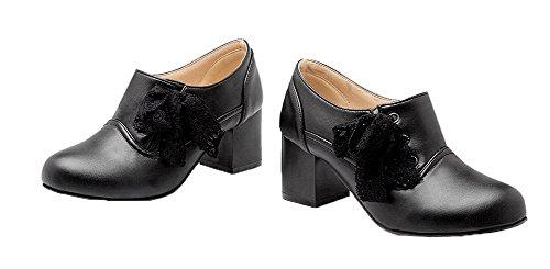 AgooLar Damen PU Schließen Zehe Mittler Absatz Ziehen auf Pumps Schuhe Schwarz