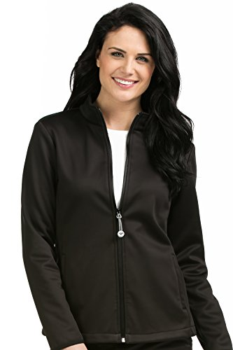 Med Couture Zip Front Performance Fleece Scrub Jacket for Women, Black, X-Small