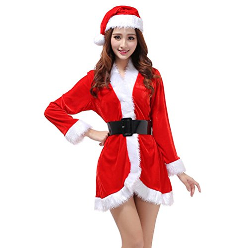 OULII Santa Claus Costume Womens Santa Suit Christmas Fancy Dress Costume with Dress Belt and Hat One Size - 3 Pieces -